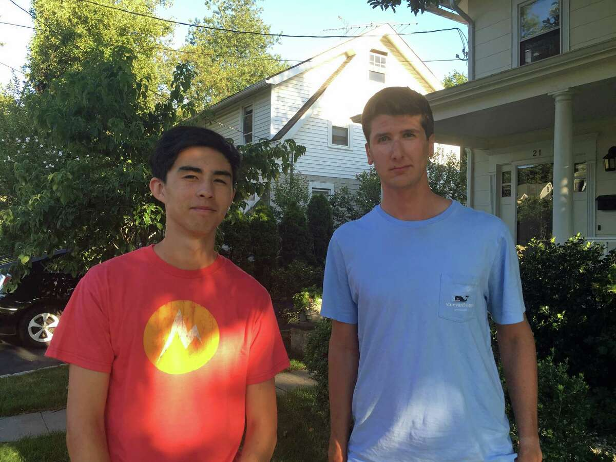 Greenwich High School seniors Kai Sherwin, left, and Spencer Grabel have started a drone photography and videography business for realtors called Aerial Greenwich.