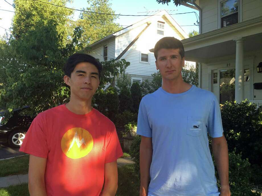 Greenwich High School seniors Kai Sherwin, left, and Spencer Grabel have started a drone photography and videography business for realtors called Aerial Greenwich. Photo: Contributed / Contributed Photo / Greenwich Time Contributed