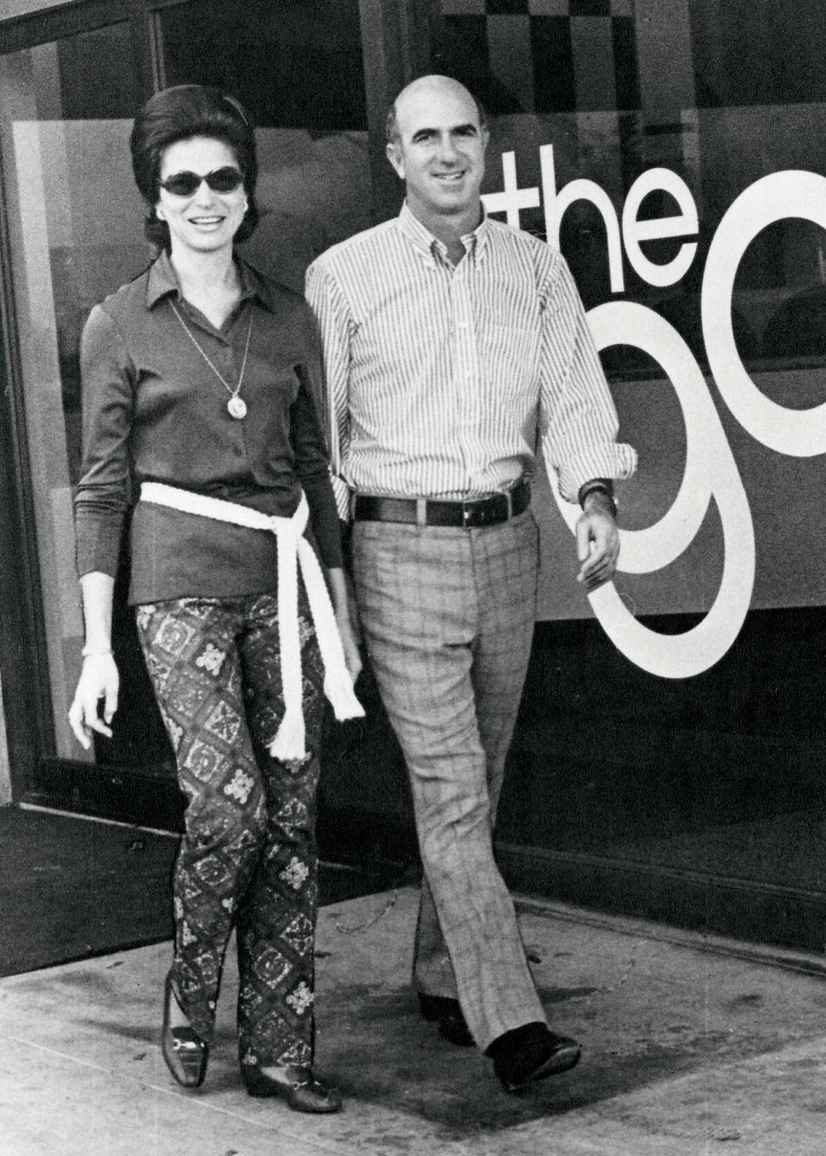 This 1969 photo provided by Gap Inc. shows Doris and Don Fisher in front of the first Gap store in San Francisco, Calif. Don Fisher, who co-founded clothing retailer Gap Inc., has died at age 81 after a long battle with cancer. The company said Fisher died at his home in San Francisco on Sunday, Sept. 27, 2009.