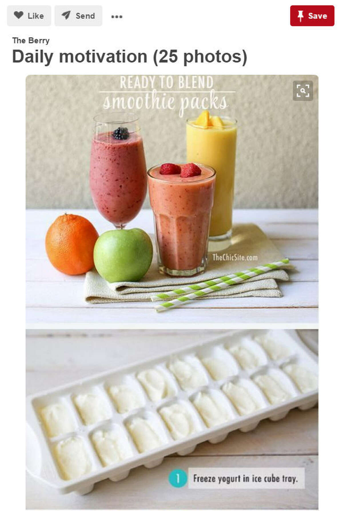 Life Hack: Freeze yogurt for great breakfast smoothie meals. Breakfast can get boring with the same old bowl of cereal and milk or eggs and toast. Mix it up with a delicious Smoothie recipe. Source: Pinterest/Daily Motivation