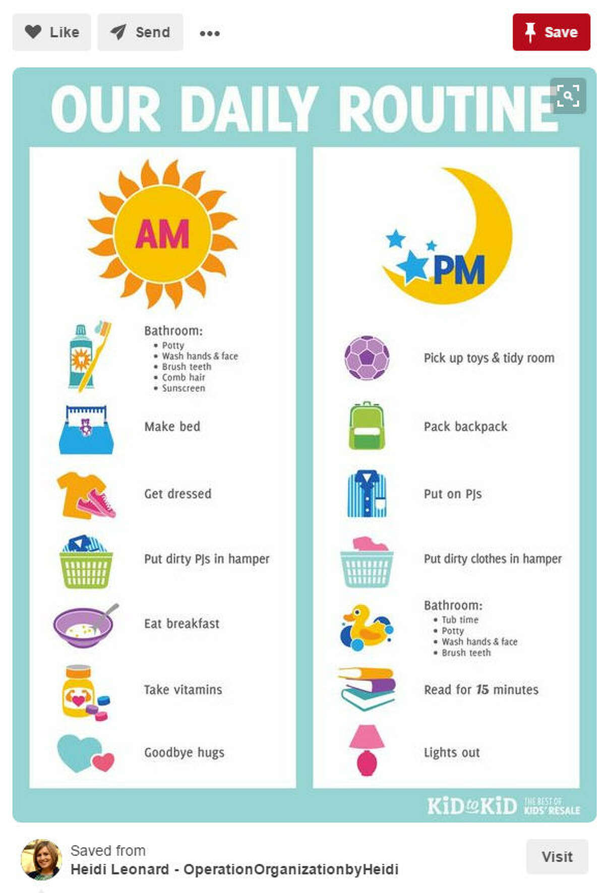 Life Hack: As a parent, you know this, but as a reminder, you must set a routine for kids. A consistent routine makes a happy child, many people say, so keep to the schedule in the morning and in the evening so your kid can be productive throughout the day. Source: Pinterest/Operation Organization