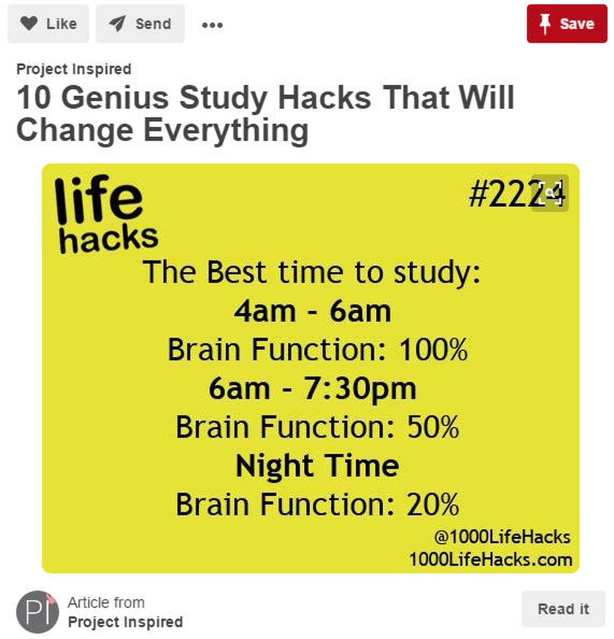 Life Hacks: Know when you're most productive. Each person is different and they each can retain information at a different rate, so know when you and the kiddos are most productive. This will take trial and error, so be prepared. Source: Pinterest/Project Inspired