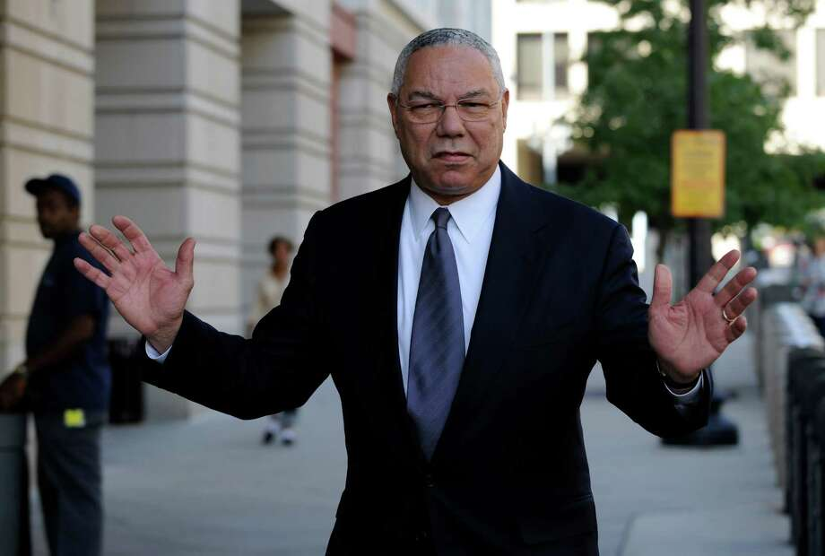 FILE - In this Oct. 10, 2008 file photo, former Secretary of State Colin Powell is seen in Washington. Powell says he sent Hillary Clinton a memo touting his use of a personal email account after she took over as the nation's top diplomat in 2009. (AP Photo/Susan Walsh, File) Photo: Susan Walsh, STF / Copyright 2016 The Associated Press. All rights reserved. This material may not be published, broadcast, rewritten or redistribu