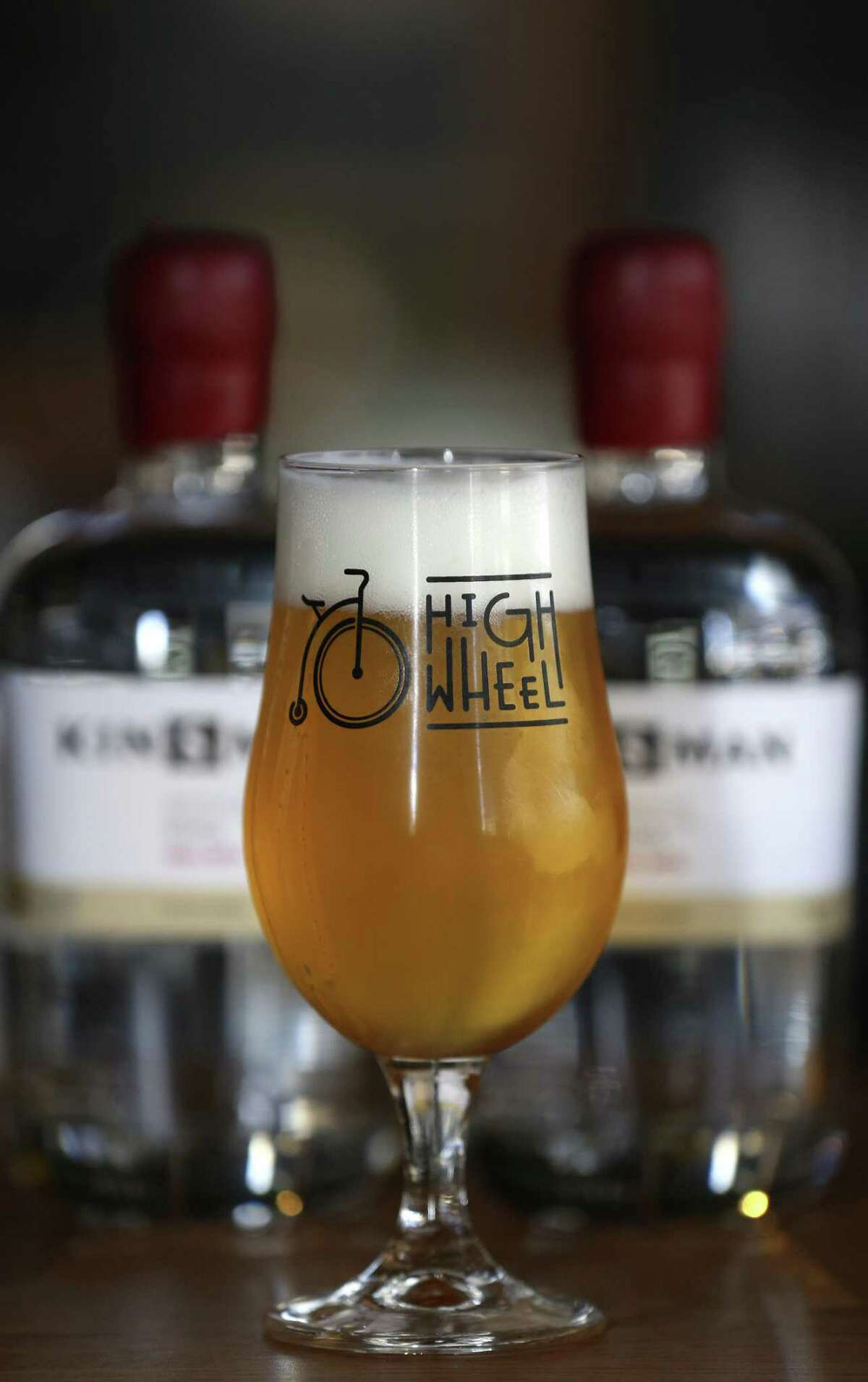 A glass of saison, from Dórcol Distilling Co.'s HighWheel Beerworks