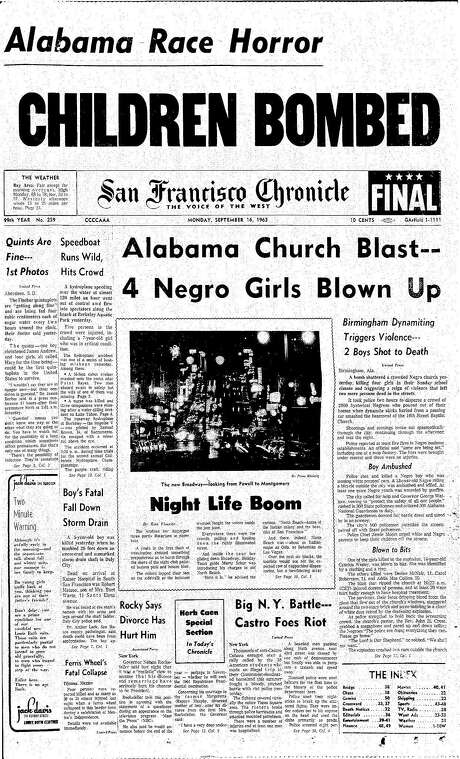 The Chronicle's front page from Sept. 16, 1963, covers an Alabama church bombing. Photo: The Chronicle 1963