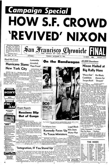 The Chronicle's front page from Sept. 13, 1960, covers a Richard Nixon campaign stop in San Francisco. Photo: The Chronicle 1960