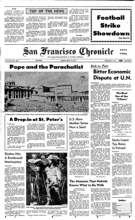 The Chronicle's front page from Sept. 15, 1975, covers the canonization of the first American saint. Photo: The Chronicle 1975