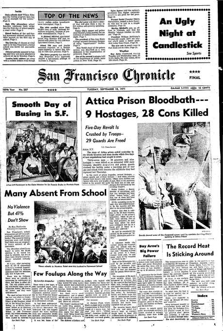 The Chronicle's front page from Sept.14, 1971, covers the Attica prison riot in New York. Photo: The Chronicle 1971