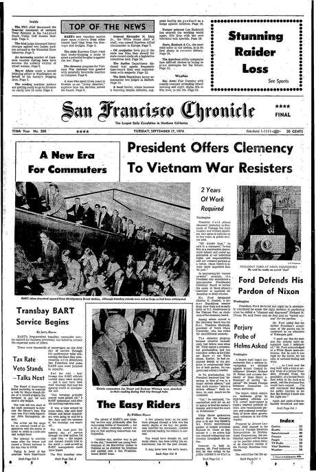 The Chronicle's front page from Sept. 17, 1974, covers the beginning of transbay BART service. Photo: The Chronicle 1974