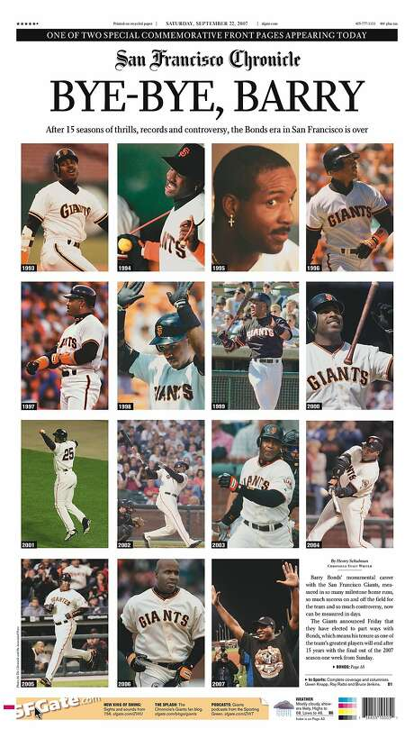 The Chronicle's front page from Sept. 22, 2007, covers the retirement of Giants slugger Barry Bonds. It was one of two commemorative front pages. Photo: The Chronicle 2007