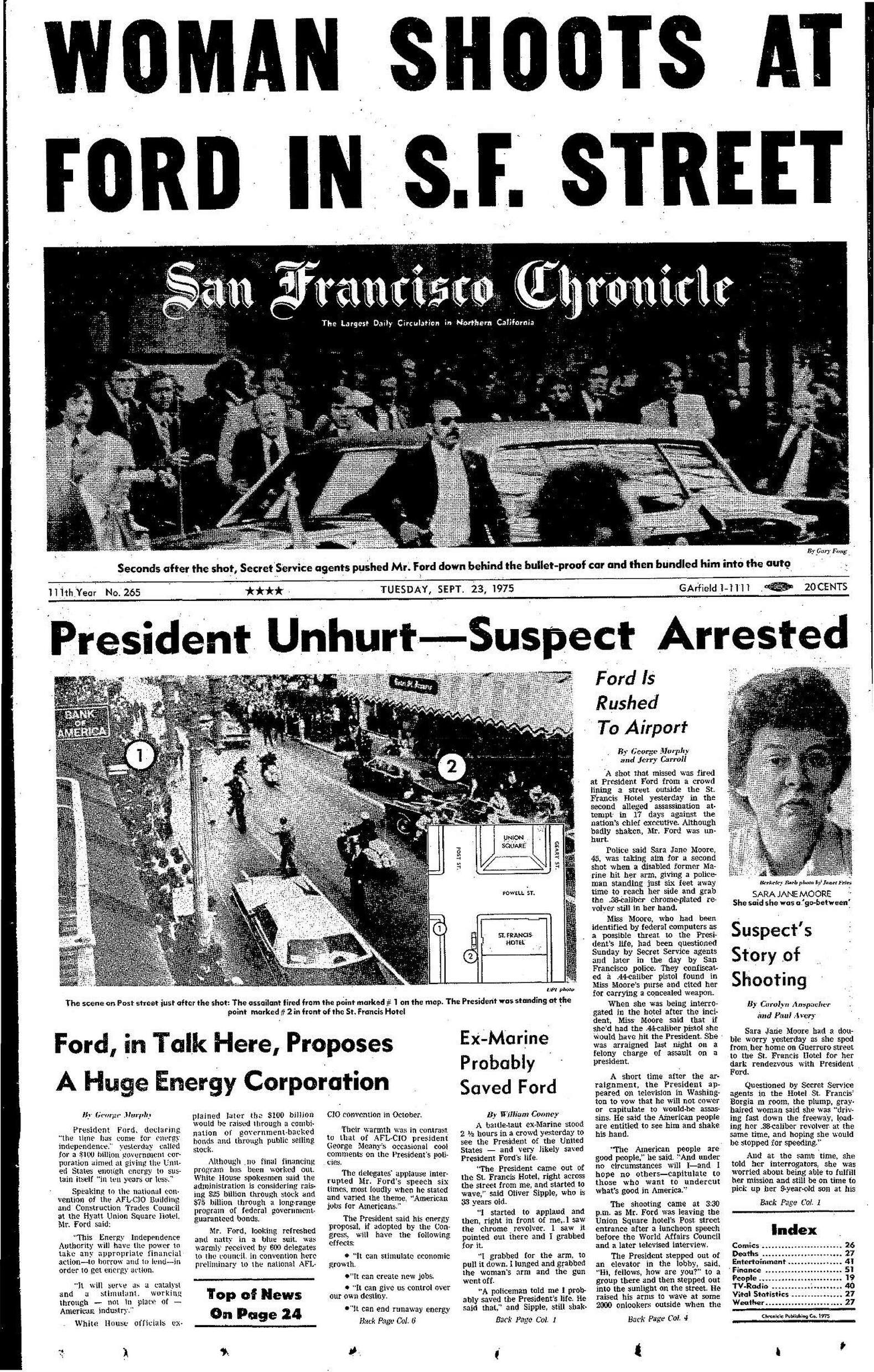 Image result for Gerald Ford SF assassination attempt in San Francisco