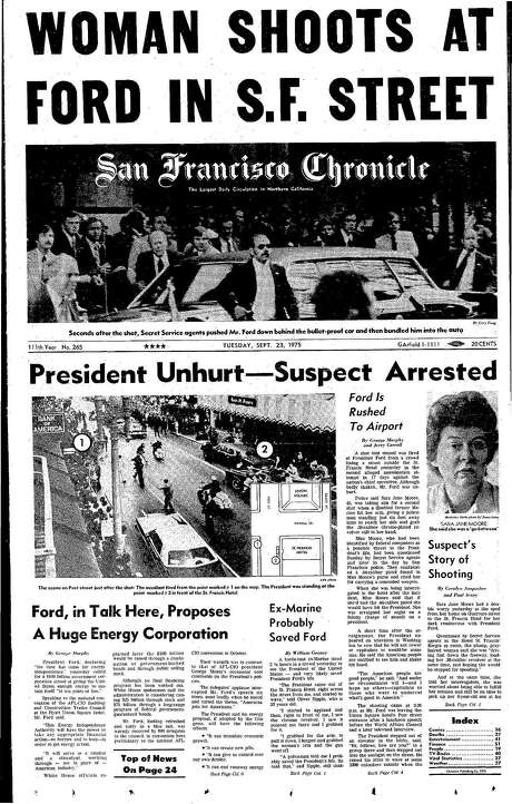 The Chronicle's front page from Sept. 23, 1975, covers the shooting of President Gerald Ford in San Francisco. Photo: The Chronicle 1975
