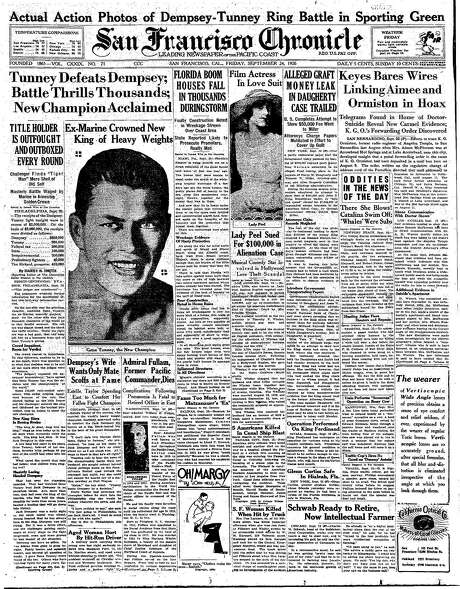 The Chronicle's front page from Sept. 24, 1926, covers the boxing match between champion Jack Dempsey and Gene Tunney. Photo: The Chronicle 1926