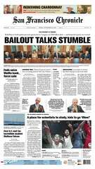 Historic Chronicle Front Page September  26, 2008  Congress tries to cope with Economic Downturn and Stock Market Crash