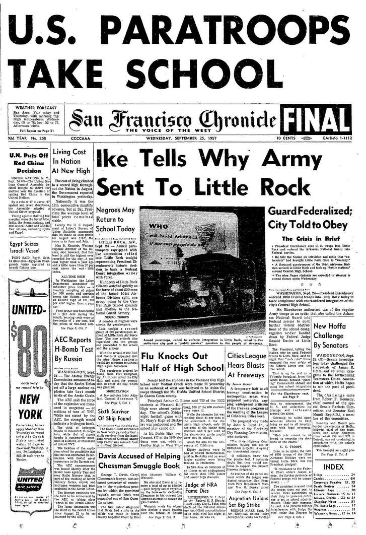 Historic Chronicle Front Page September  25, 1957  President Dwight Eisenhower sends troops to Little Rock