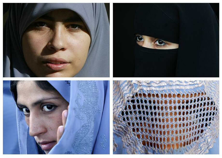Muslim women wear various types of Islamic veils, including a Hijab (top left), a Niqab (top right) a Tchador (bottom left) and a Burqa (bottom right). German Interior Minister Thomas de Maiziere came out on Friday in favor of a partial burqa ban amid a fierce national debate on integration.  Photo: STF, Stringer / AFP or licensors