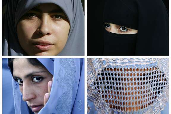 Muslim women wear various types of Islamic veils, including a Hijab (top left), a Niqab (top right) a Tchador (bottom left) and a Burqa (bottom right). German Interior Minister Thomas de Maiziere came out on Friday in favor of a partial burqa ban amid a fierce national debate on integration.