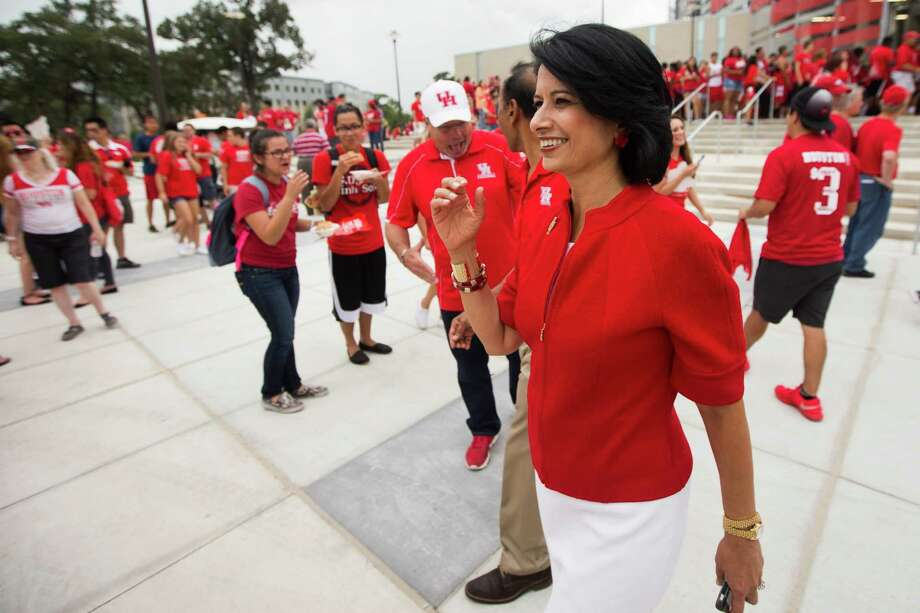 UH president Renu Khator says the school has the credentials to warrant consideration for entry into the Big 12. Photo: Brett Coomer, Staff / © 2014  Houston Chronicle