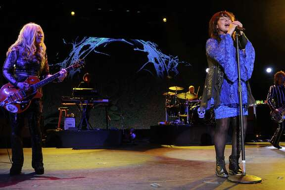 Nancy and Ann Wilson of Heart perform during the Rock Hall Three for All concert at Cynthia Woods Mitchell Pavillion Friday Aug. 19, 2016. (Dave Rossman Photo)