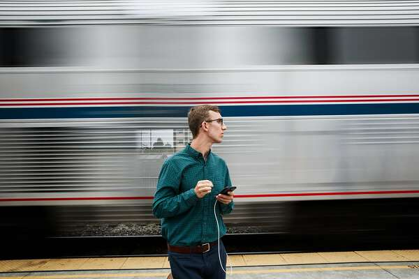 Scott Sellers waits for Amtrak's Capitol Corridor train in Richmond, California on August 16, 2015.