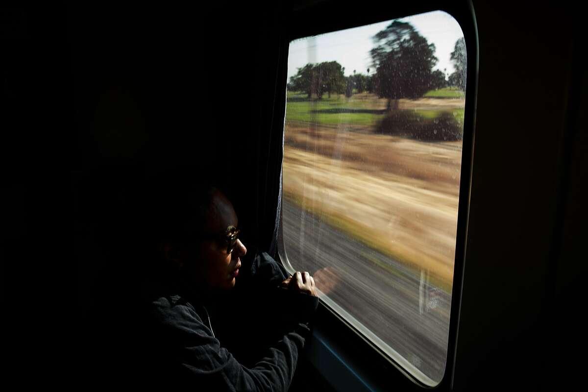 Vivian Vere rides Amtrak's Capitol Corridor train on August 16, 2015.