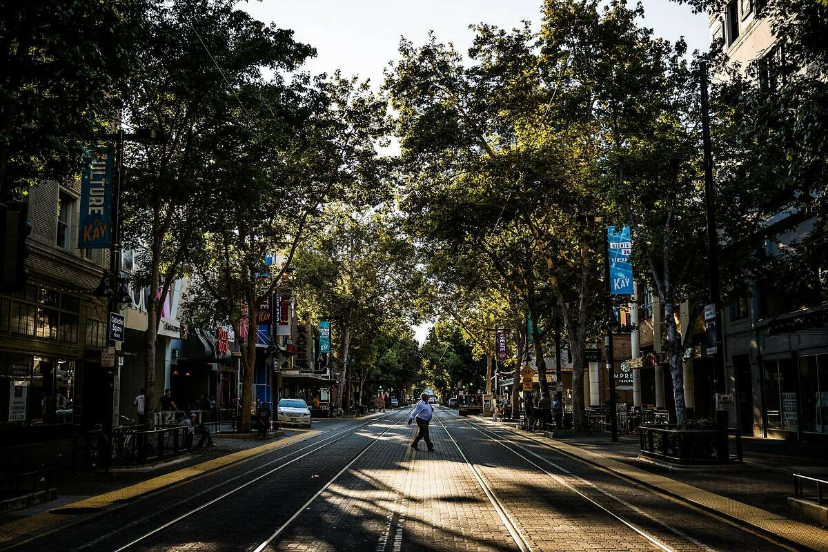 K Street in downtown Sacramento, California on August 17, 2015.