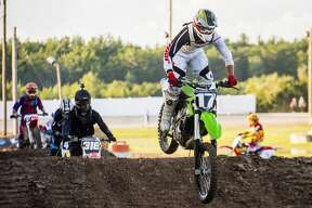 Brenden Meyer races in the 250 C event at the Super Cross race event at the Midland County Fair on Friday.