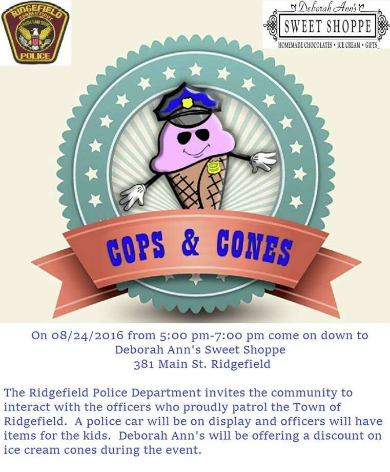 Ridgefield police are holding a Cops & Cones event on Wednesday, Aug. 24, 2016 Photo: Contributed Photo / Contributed Photo