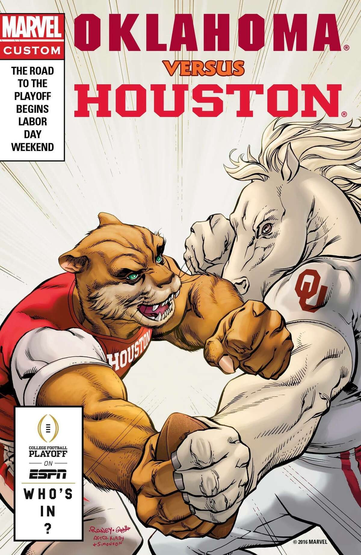 The Houston/Oklahoma football game at NRG Stadium on Sept. 3 is featured on a comic book cover promotion by ESPN and Marvel.
