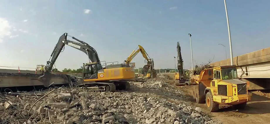 Scene from a time-lapse video showing the demolition and replacement of the southbound Lindley Street bridge on Route 8/25 in Bridgeport in June 2016. Photo: /