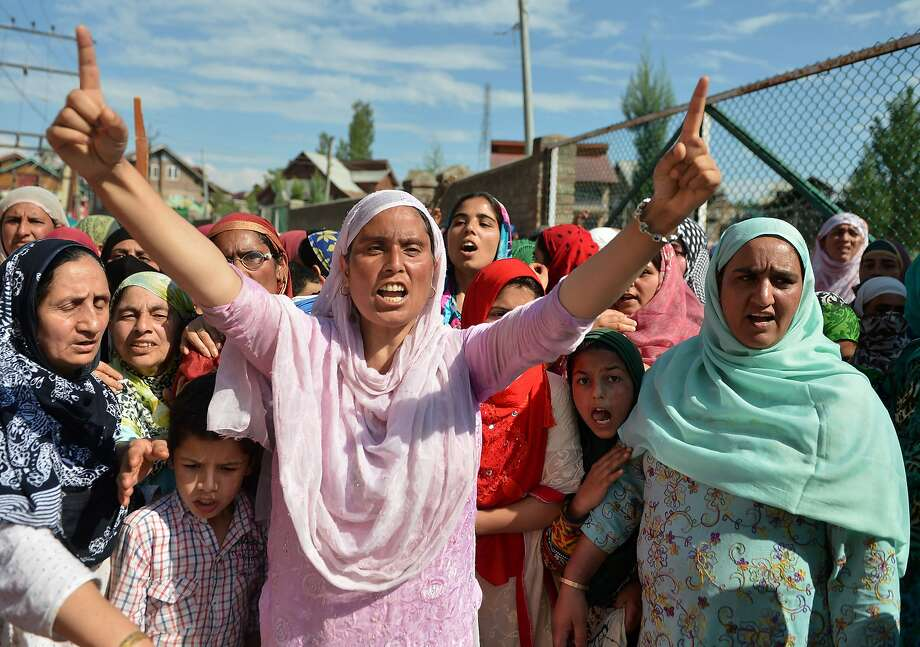 Kashmiris demonstrate against Indian rule during a protest Friday in the city of Srinagar. The region has been seized by almost daily protests and clashes with government forces. Photo: TAUSEEF MUSTAFA, AFP/Getty Images