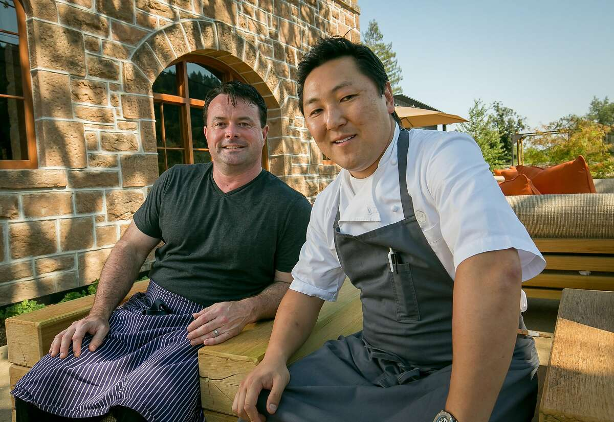 Chefs Sang Yoon and Douglas Keane at Two Birds One Stone restaurant in St. Helena, Calif. are seen on August 19th, 2016.