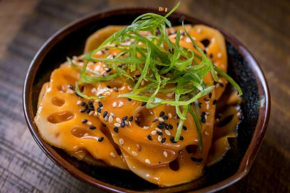 The Lotus Root Kimchee at Two Birds One Stone restaurant in St. Helena, Calif. is seen on August 19th, 2016.