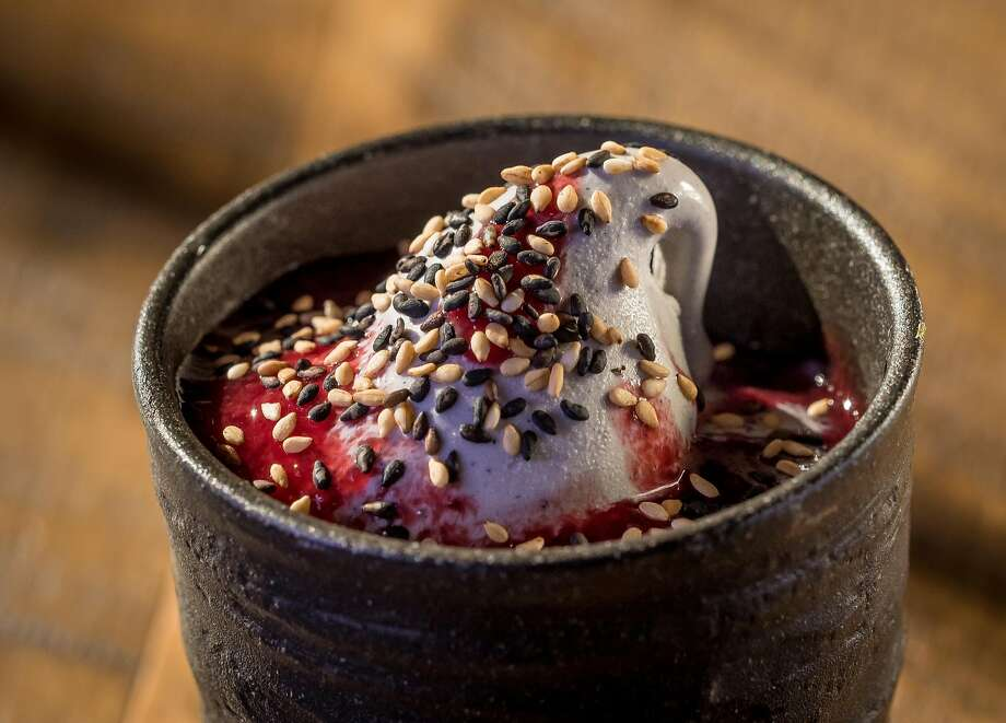 Black sesame soft-serve ice cream at Two Birds/One Stone in St. Helena. Photo: John Storey, Special To The Chronicle