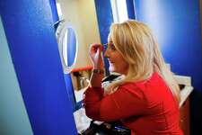 Houston Life host Jennifer Broome puts on makeup before the first day of filming at KPRC's new daytime television show at the Galleria Tuesday, August 16, 2016 in Houston. ( Michael Ciaglo / Houston Chronicle )