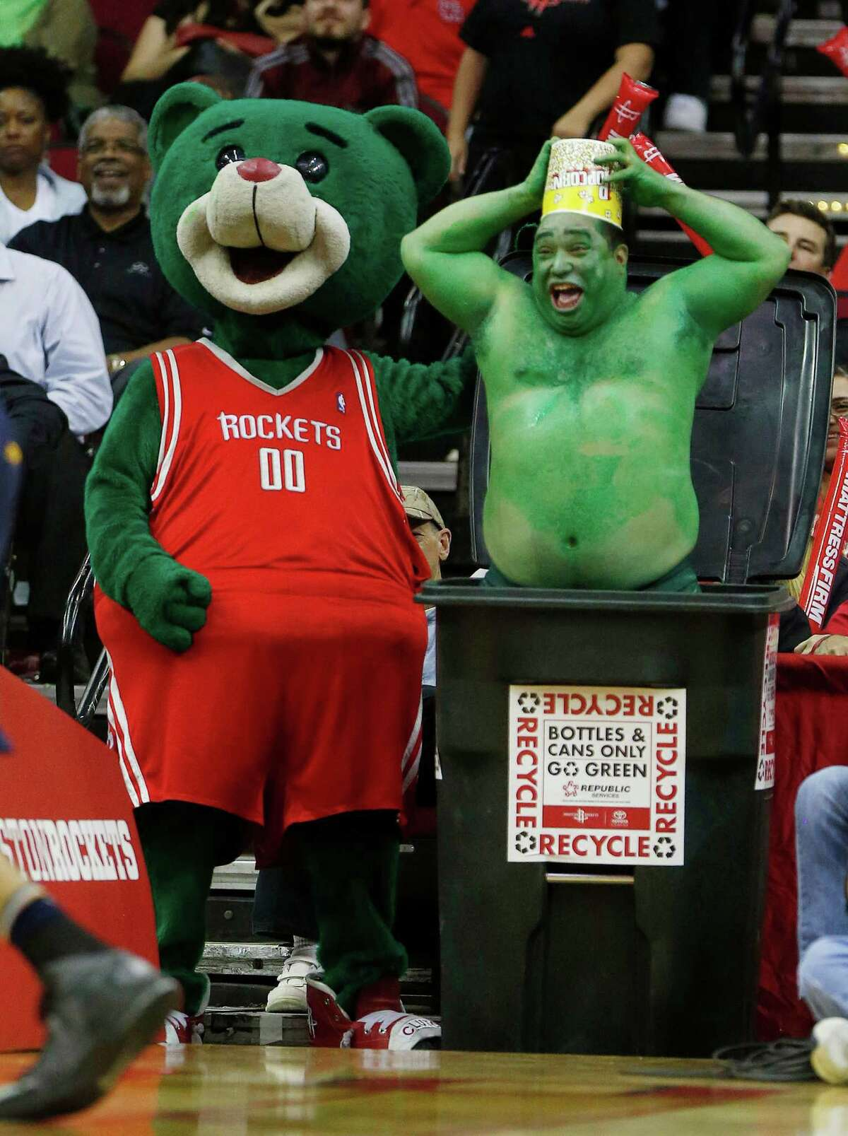 Houston Rockets mascot Clutch and his crew try to get the Utah Jazz to miss free throws during the second half of an NBA basketball game at Toyota Center, Wednesday, March 23, 2016. ( Karen Warren / Houston Chronicle )