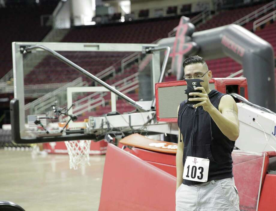 Open auditions for Clutch, the Houston Rockets mascot, at the Toyota Center on Saturday, Aug. 20, 2016, in Houston. Photo: Elizabeth Conley, Houston Chronicle / © 2016 Houston Chronicle