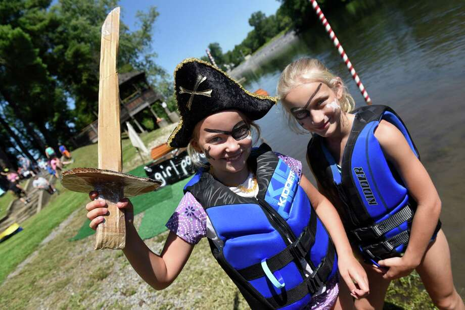 Anna Schwerd, 8, of Schuylerville, left, and her friend Nina Smith, 10, of Quincy, Mass. are dressed for the Pirates on the Hudson theme during the 12th annual Cardboard Boat Races on Saturday, Aug. 20, 2016, at Fort Hardy Park Beach in Schuylerville, N.Y. (Cindy Schultz / Times Union) Photo: Cindy Schultz / Albany Times Union