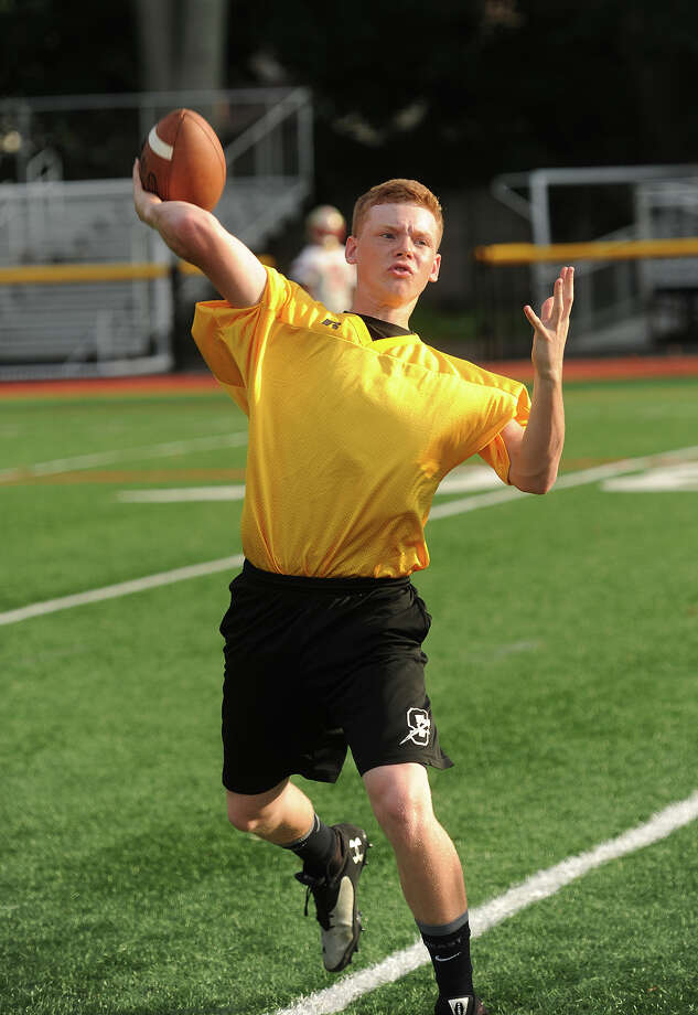 Stratford High School senior quarterback Connor Anstis throws during his team's opening practice of the season at Penders Field in Stratford, Conn. on Monday, August 15, 2016. Photo: Brian A. Pounds / Hearst Connecticut Media / Connecticut Post