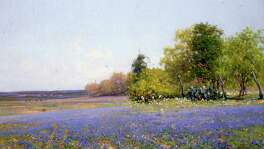 "José Arpa's ""Bluebonnet Field"" is an oil on canvas painting."