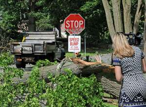 A tree downed from Friday's storm blocks a road in Central Park on Saturday July 2, 2016 in Schenectady, N.Y. (Michael P. Farrell/Times Union)