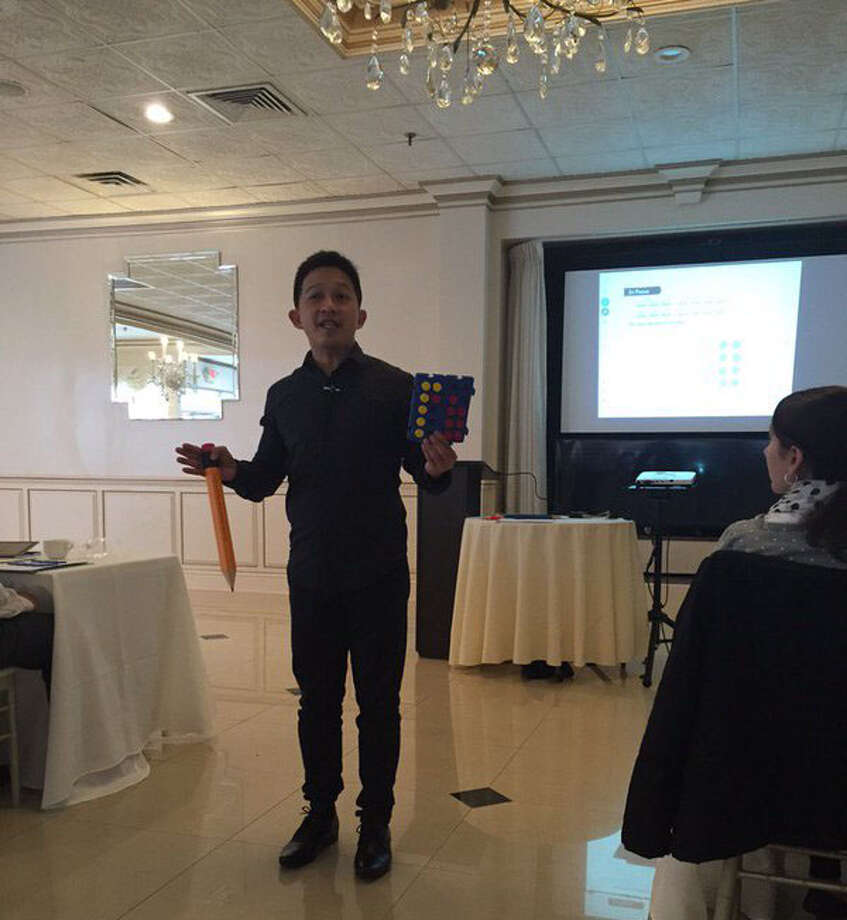 Yeap Ban Har, acclaimed math expert and notable researcher, at a training session that several Wilton teachers attended in New Rochelle last November. Photo: Contributed Photo