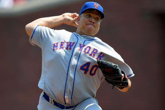 SAN FRANCISCO, CA - AUGUST 20:  Bartolo Colon #40 of the New York Mets pitches against the San Francisco Giants in the bottom of the first inning at AT&T Park on August 20, 2016 in San Francisco, California.  (Photo by Thearon W. Henderson/Getty Images)