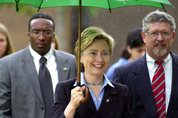 Senator Hillary Clinton arrives to speak at Fulton-Montgomery Community College on Aug. 5, 2004, in Johnstown, N.Y. (Angela Bishop/Times Union archive)