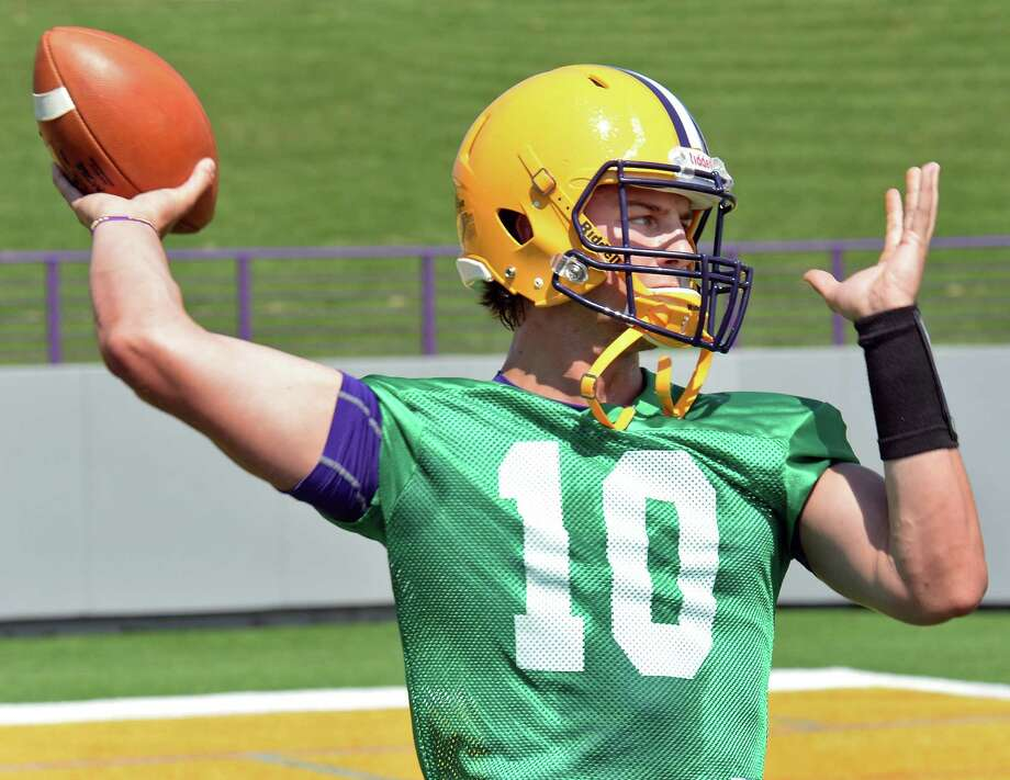 Quarterback Neven Sussman during the University at Albany football team's first practice Saturday Aug. 6, 2016 in Albany, NY.  (John Carl D'Annibale / Times Union) Photo: John Carl D'Annibale / 20037545A