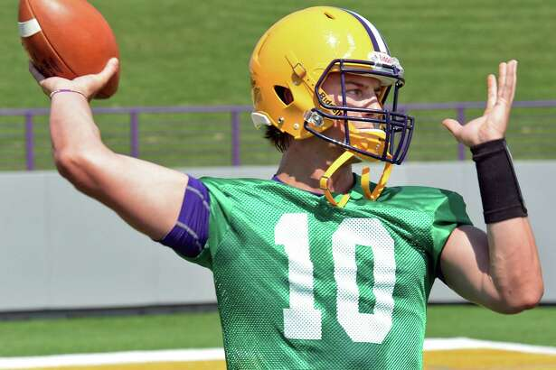 Quarterback Neven Sussman during the University at Albany football team's first practice Saturday Aug. 6, 2016 in Albany, NY.  (John Carl D'Annibale / Times Union)