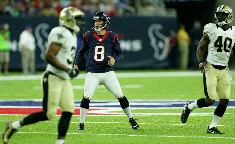 Houston Texans kicker Nick Novak (8) runs across the field as he watches his 49-yard field goal against the New Orleans Saints during the second quarter of an NFL pre-season football game at NRG Stadium on Saturday, Aug. 20, 2016, in Houston. Photo: Brett Coomer, Houston Chronicle / © 2016 Houston Chronicle