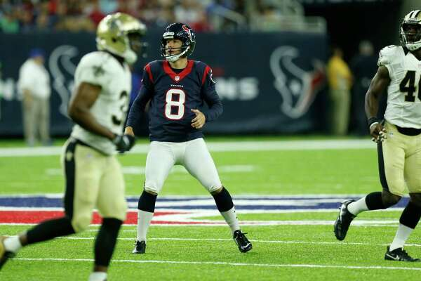Houston Texans kicker Nick Novak (8) runs across the field as he watches his 49-yard field goal against the New Orleans Saints during the second quarter of an NFL pre-season football game at NRG Stadium on Saturday, Aug. 20, 2016, in Houston.