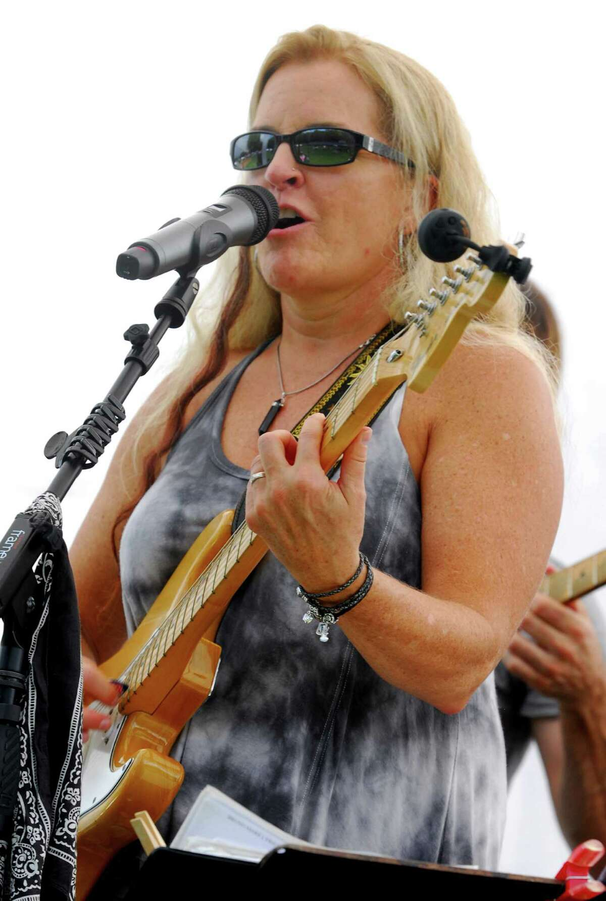 Kathy Thompson of the Kathy Thompson Band performs at Rock The Valley: A Day of Music Art & Fun held at Nolan Field in Ansonia, Conn., on Saturday Aug. 20, 2016. Other bands in the lineup included All Funk'd Up, 1980's Glam band XYZ (Revisited) and Quicksand Planet supporting our internationally acclaimed, the one and only, cast of Beatlemania, as well as a wide variety of Artisans, Crafters and Vendors of all types, great foods, a beer garden, a Kid's Zone and much more!