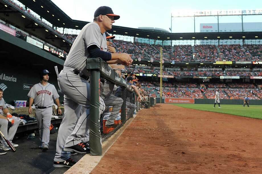 BALTIMORE, MD - AUGUST 20: Manager A.J. Hinch #14 of the Houston Astros watches the game in the second inning against the Baltimore Orioles at Oriole Park at Camden Yards on August 20, 2016 in Baltimore, Maryland. Photo: Greg Fiume, Getty Images / 2016 Getty Images